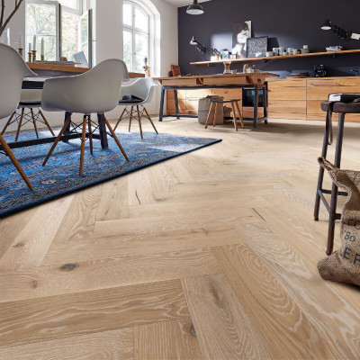 Trägolv Meister Herringbone White Washed Vital Oak